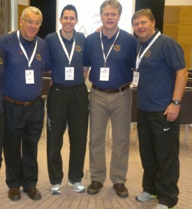 Neil with SST Chairman Graham Smith, England Senior Physiotherapist Gary Lewin and Mr Dave Jones